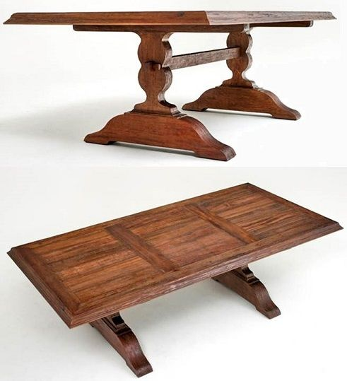 Reclaimed Hardwood Dining Table - Trestle Base - Shown Natural - Item #DT00204 - Custom Sizes Available - 16 Color Finish Options - Can Be Expandable