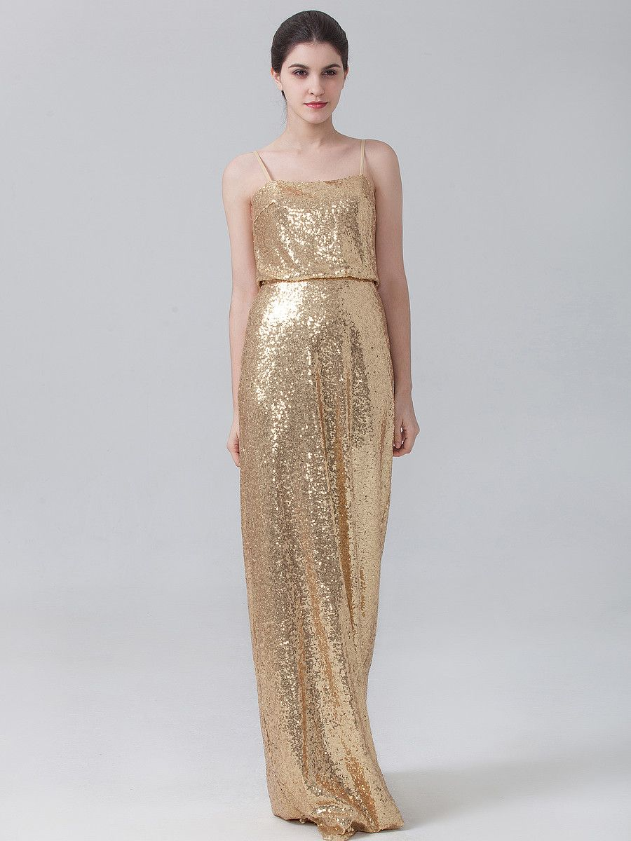 Gold sequined bridesmaid dress from forherandforhim bridesmaids