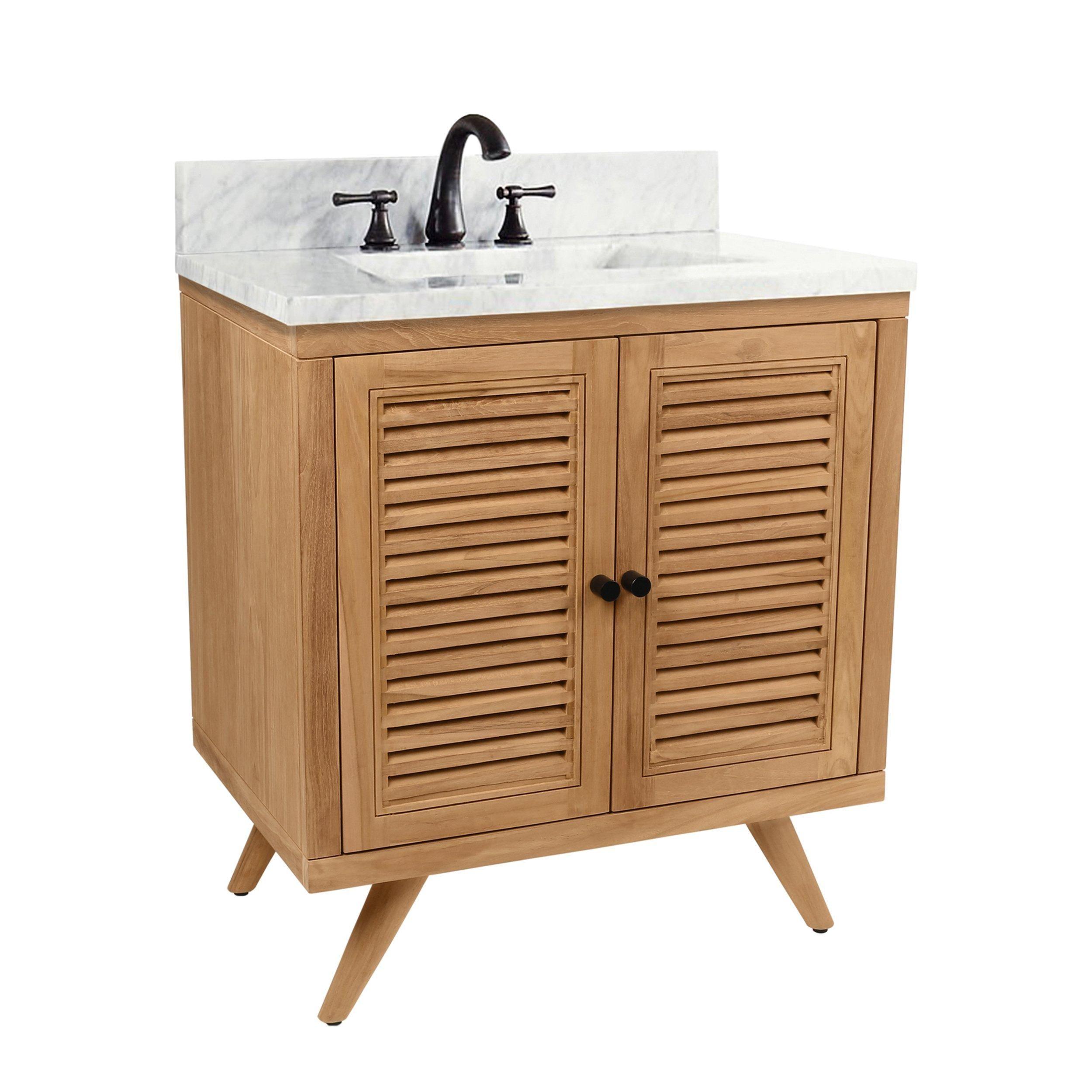 Monroe 31 In Natural Single Vanity With Cararra Top In 2021 Single Bathroom Vanity Bathroom Vanity Bathroom Vanity Base [ 2500 x 2500 Pixel ]