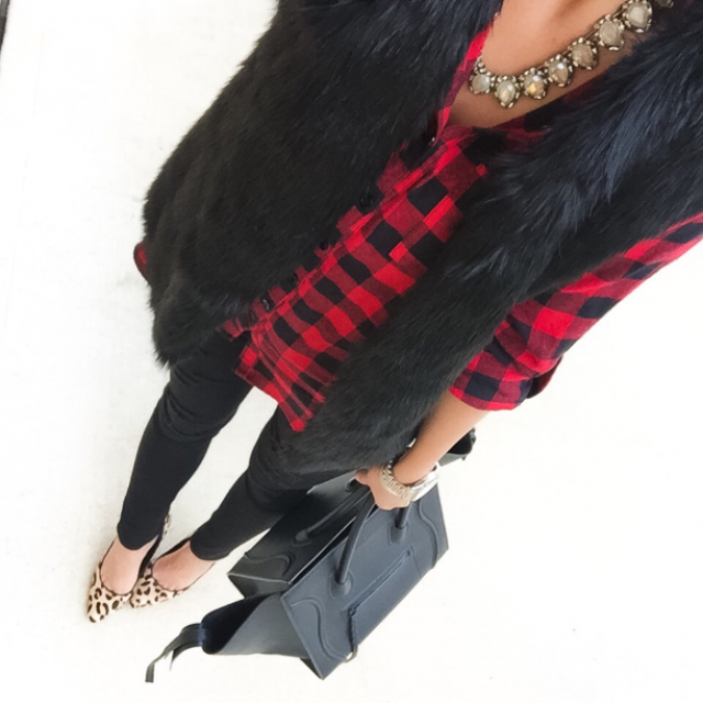 Buffalo plaid, black fur vest, leopard print shoes