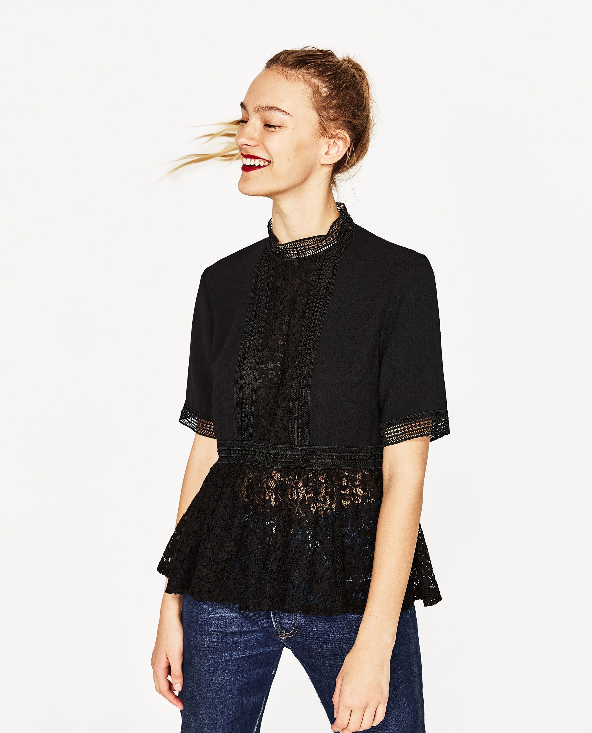 994e5f1748 Image 5 of CONTRAST LACE TOP from Zara | wishlist in 2019 | Lace ...