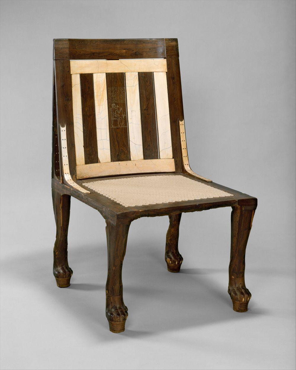 Egyptian Furniture: Egyptische Stoel Met Inlegwerk Van Ivoor En Leeuwenpootjes