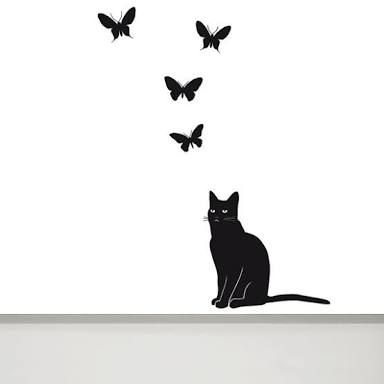 Cat Wall Decal and Butterfly Wall Decal - Cat Wall Art - Cat Wall Art - Cat and Butterfly Decal - Butterfly Wall Decal - Cat Vinyl Decal  sc 1 st  Pinterest & Pin by Camilla Dries on For the Home | Pinterest | Body art