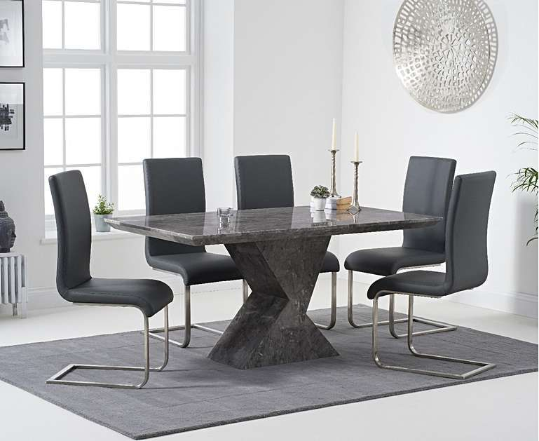 White Marble Dining Table with 4 Grey