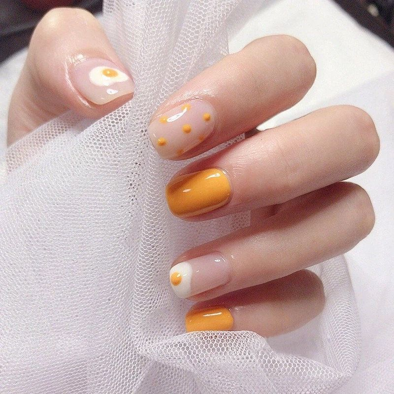 Hot egg taro orange,Coffin Nails- Fake Nails- False Nails- Faux Nails- Press on Nails- Press Ons- Stick on Nails- Glue on Nails- Matte Nails