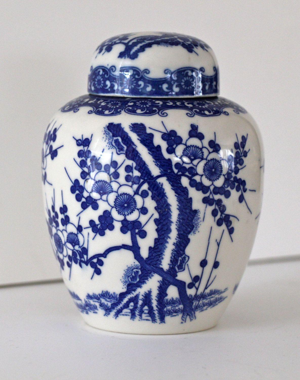 Vintage Blue and White Ginger Jar