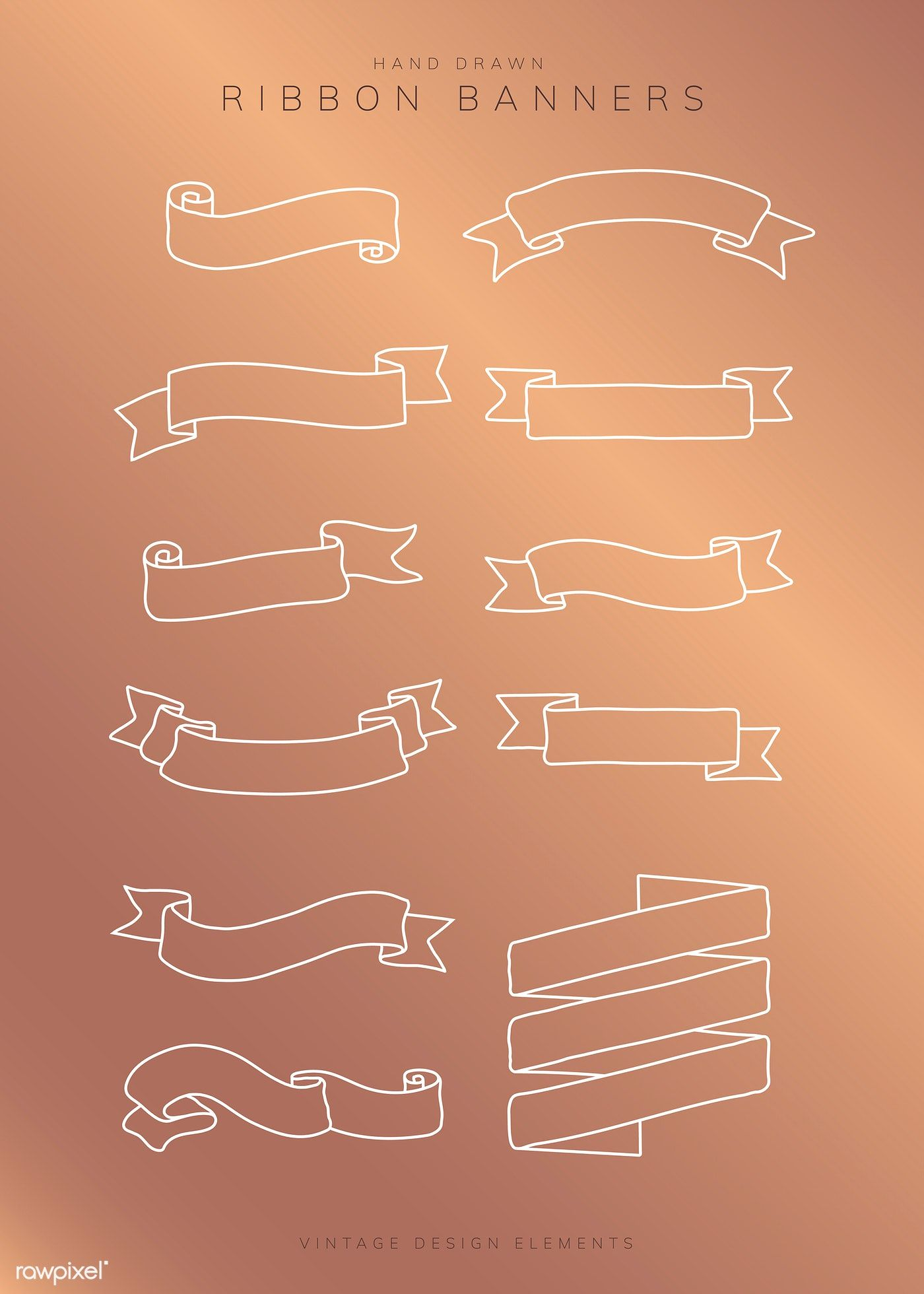 Vintage Hand Drawn Ribbon Banner Collection Vectors Free Image By Rawpixel Com Katie Moir Sasi