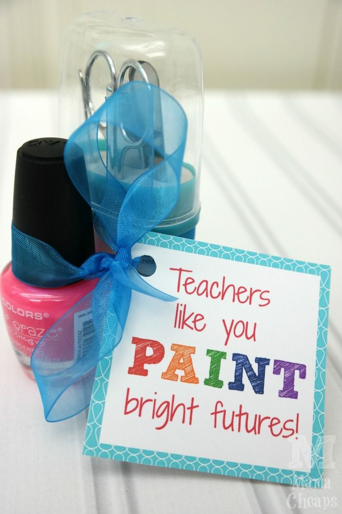 Teacher nail polish gift idea free printable tag Gifts to show appreciation to friend