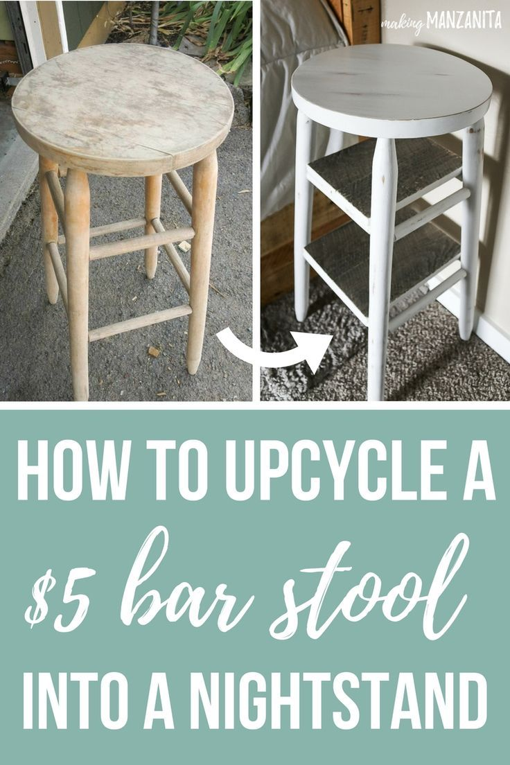 How To Upcycle A Bar Stool Into A Narrow Bedside Table | Shelving ...