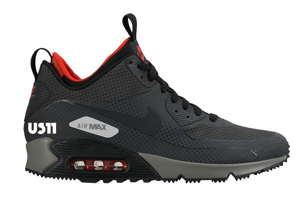 nike air max 90 sneakerboot dusty grey & red