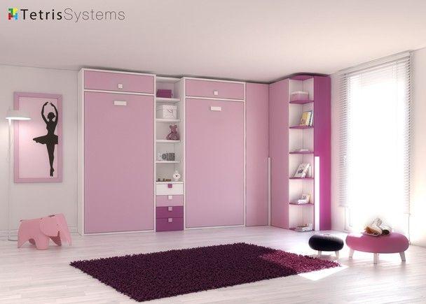 Camas abatible verticales y armarios tonos rosas - Habitaciones camas abatibles ...