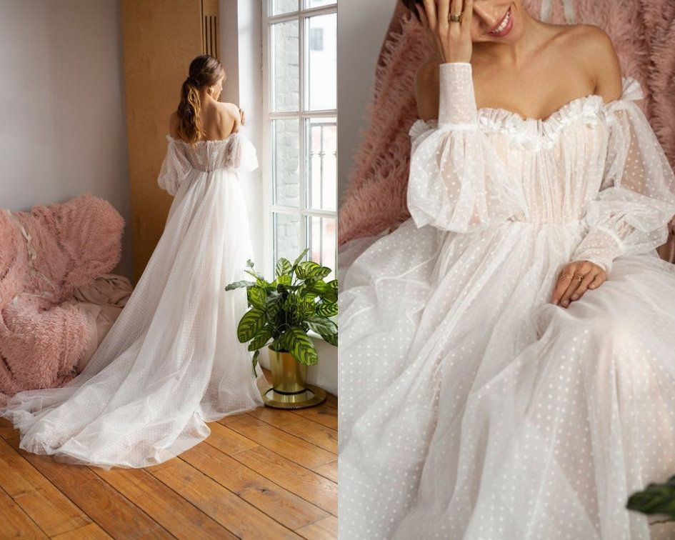 Mesh wedding dress, trained light reception dress, romantic rustic bride, bohemian off shoulder dress, delicate sweetheart bridal gown
