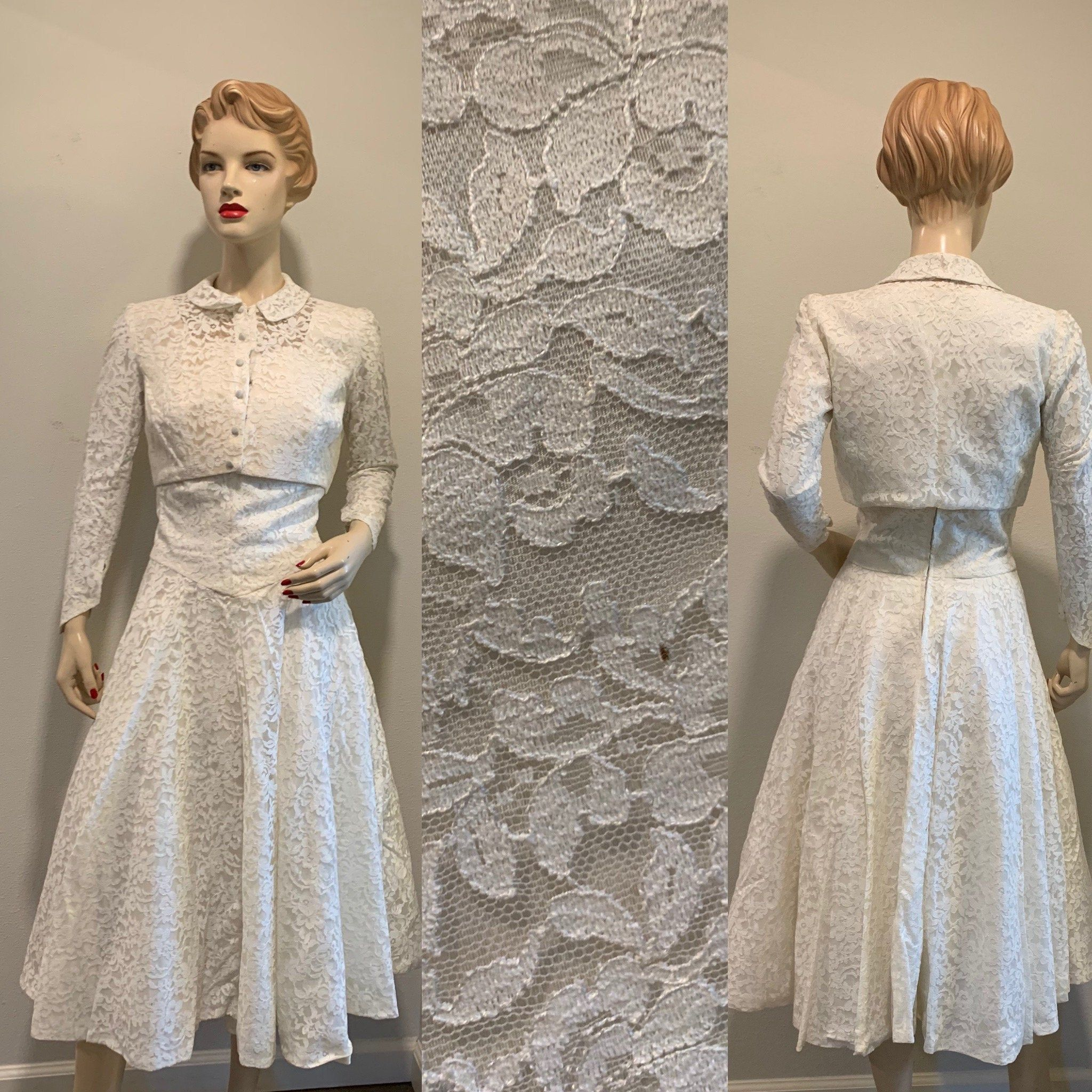 Sleeveless Mid Length Pointed Sleeves Jacket Great Quality And Condition Vintage 1950s Off White Wedding Dress ~ With Bolero Style Button