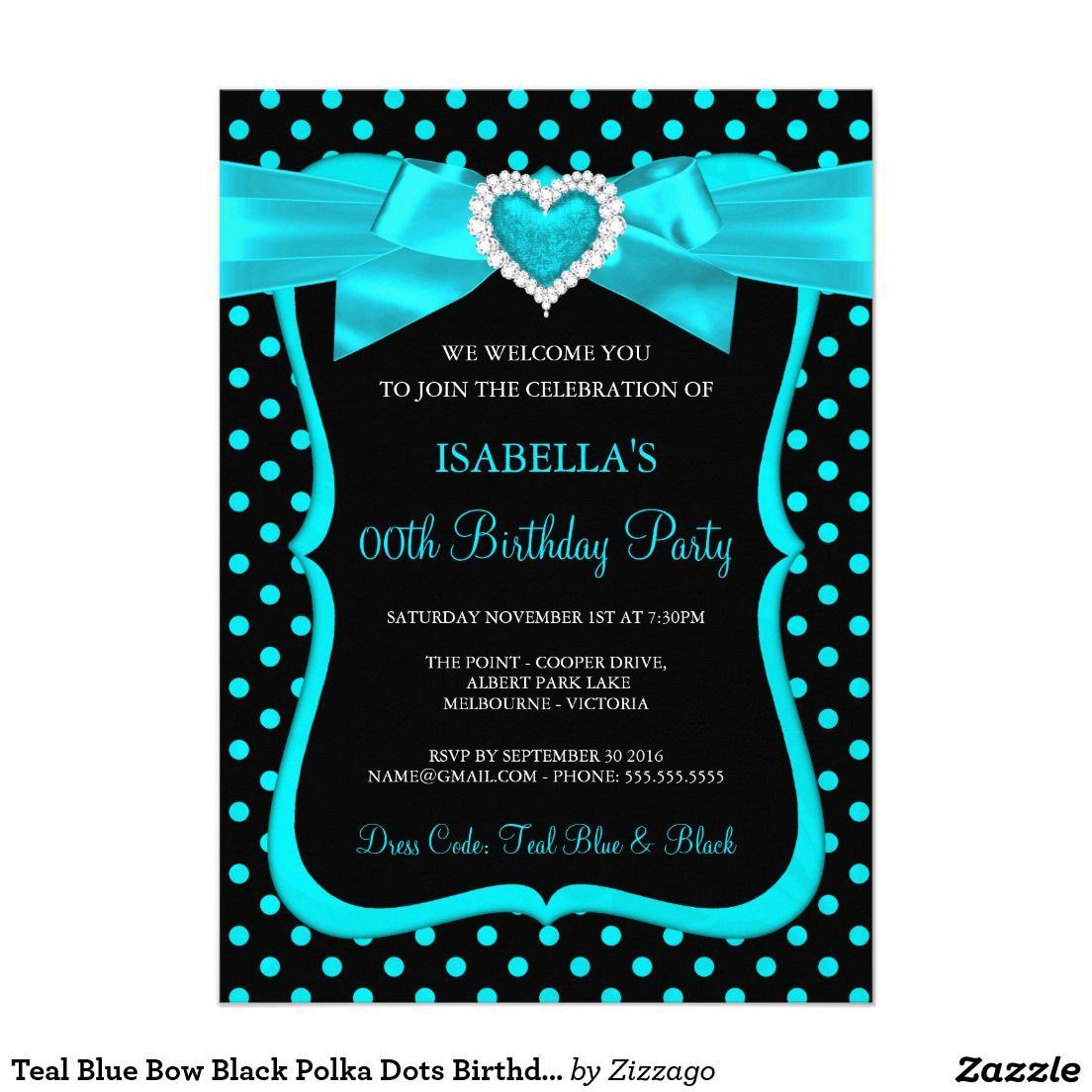 Teal Blue Bow Black Polka Dots Birthday Party Card | Womens & Girls ...