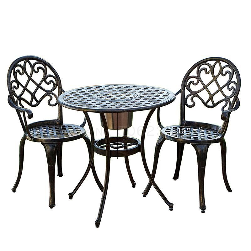 Cast Aluminum Outdoor Table And Chair One Table Two Chairs Combination Leisure Garden Garden Tea Furniture Home Rainproof In 2020 Patio Furnishings Bistro Furniture Outdoor Patio Set