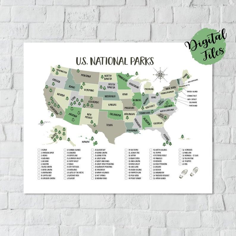 Printable Us National Parks Map Us National Parks Checklist 62 Etsy National Parks Map Us National Parks Map National Park Posters