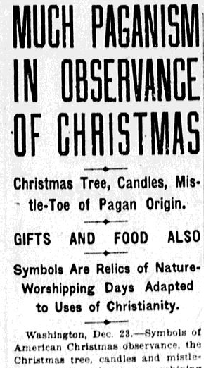 Delightful Much Paganism In Observance Of Christmas, Charlotte Observer Newspaper  Article 24 December 1920
