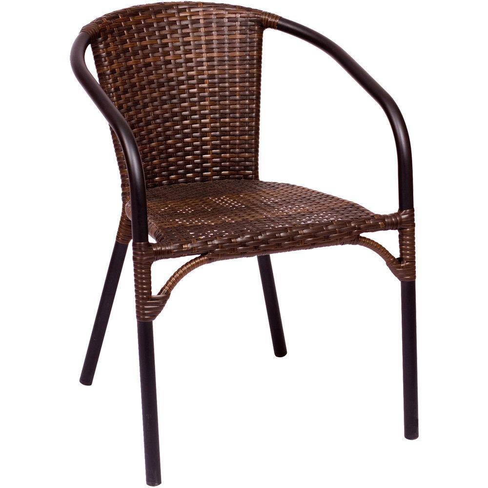 stackable outdoor chairs swing chair stand bfm seating ms11cbbbl marina brown wicker with arms and black frame