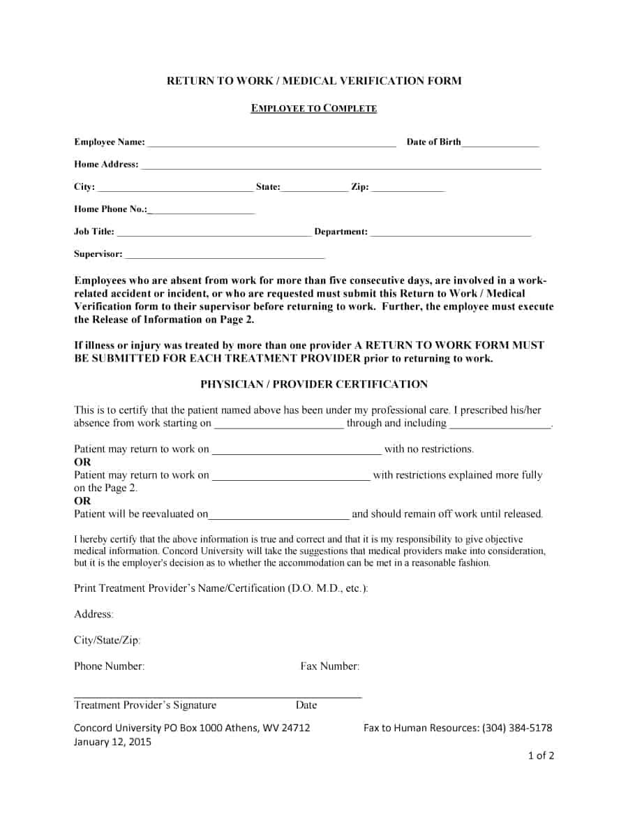 44 Return To Work Work Release Forms Printable Templates Return To Work Form Dr Note For Work Return To Work