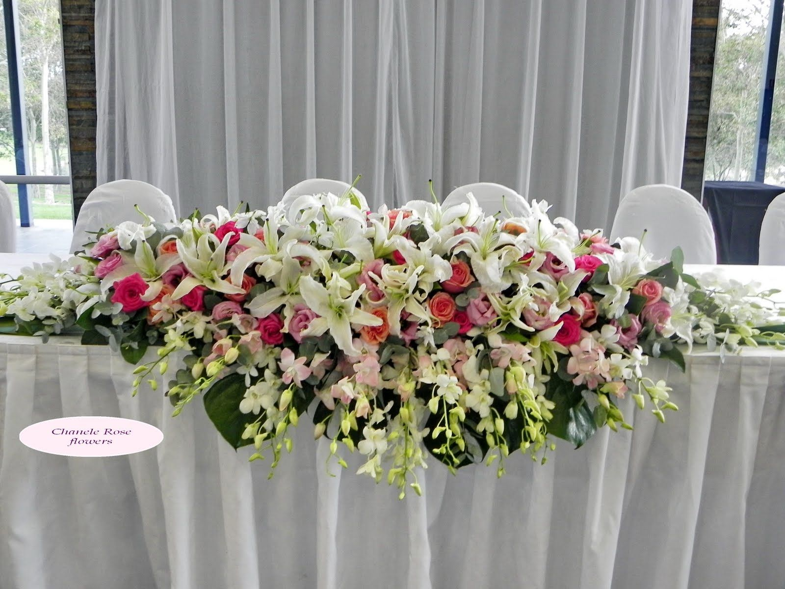 Wedding flower arrangements for long table 224 my vow for Floral table decorations for weddings