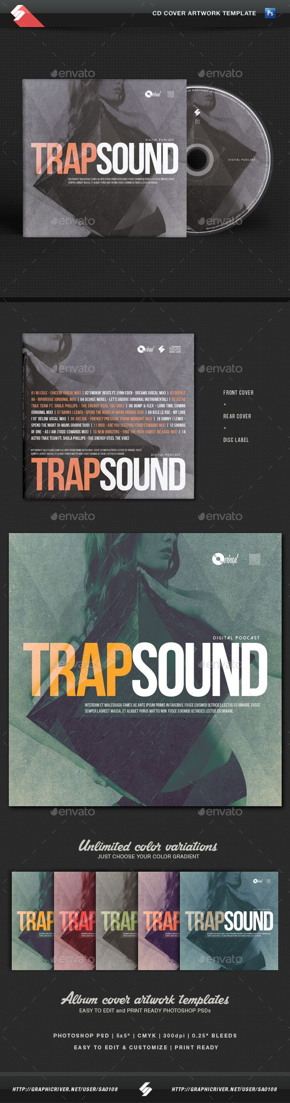 Trap Sound - CD Cover Template PSD. Download here: http ...