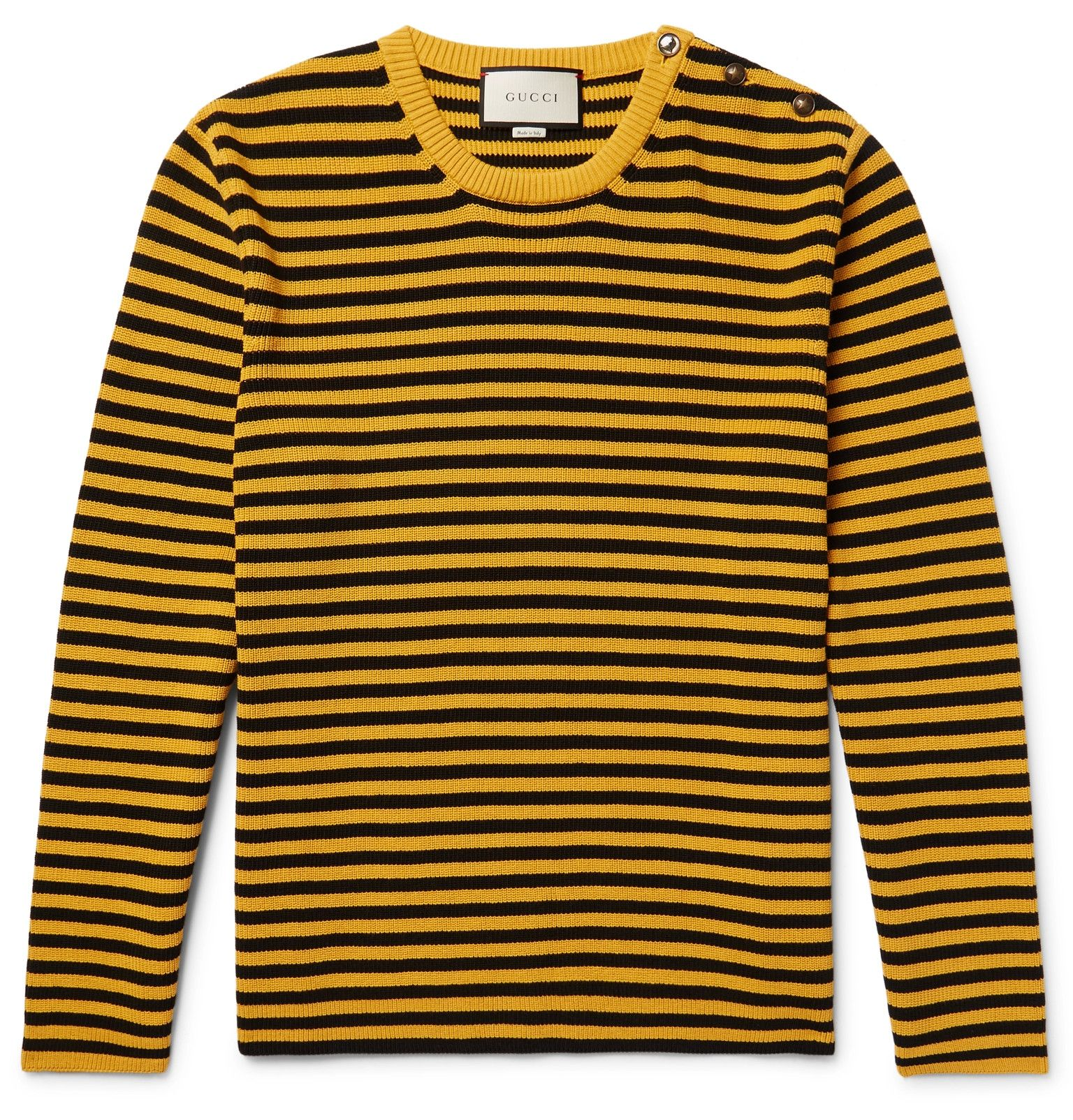 Gucci Button-Embellished Striped Cotton Sweater from Mr. Porter ...