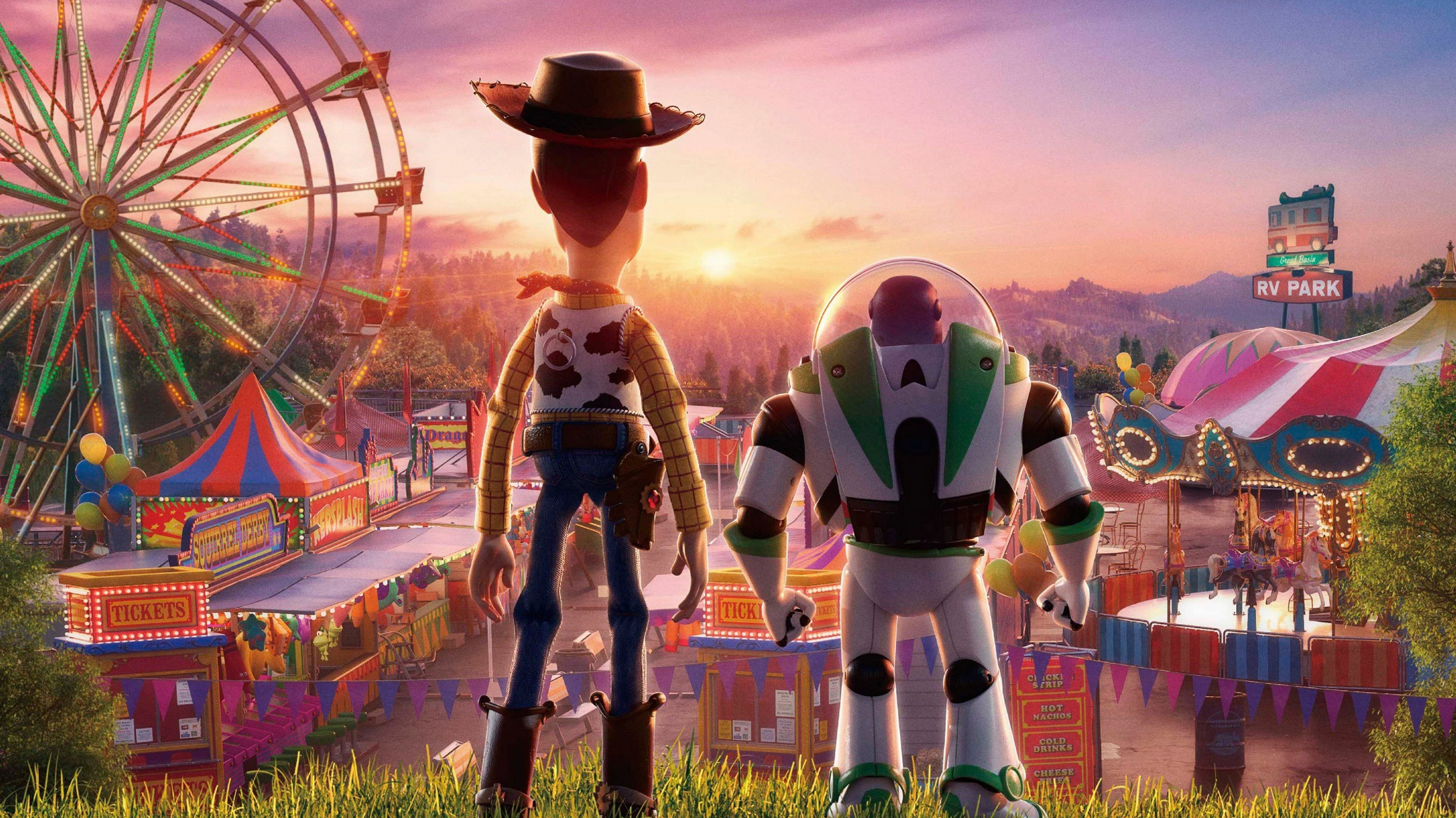 Movie Toy Story 4 Buzz Lightyear Carnival Ferris Wheel Hat Sun Sunset Toy Woody Toy Story 4k Wallpaper In 2021 Woody Toy Story Toy Story Buzz Toy Story Movie