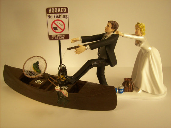 No FISHING Come back Funny Wedding Cake Topper w Boat Bride and