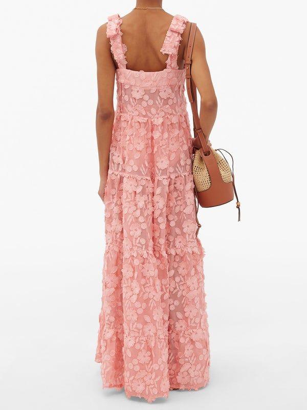Dodo Bar Or Lima floral-appliqué cotton-voile maxi dress
