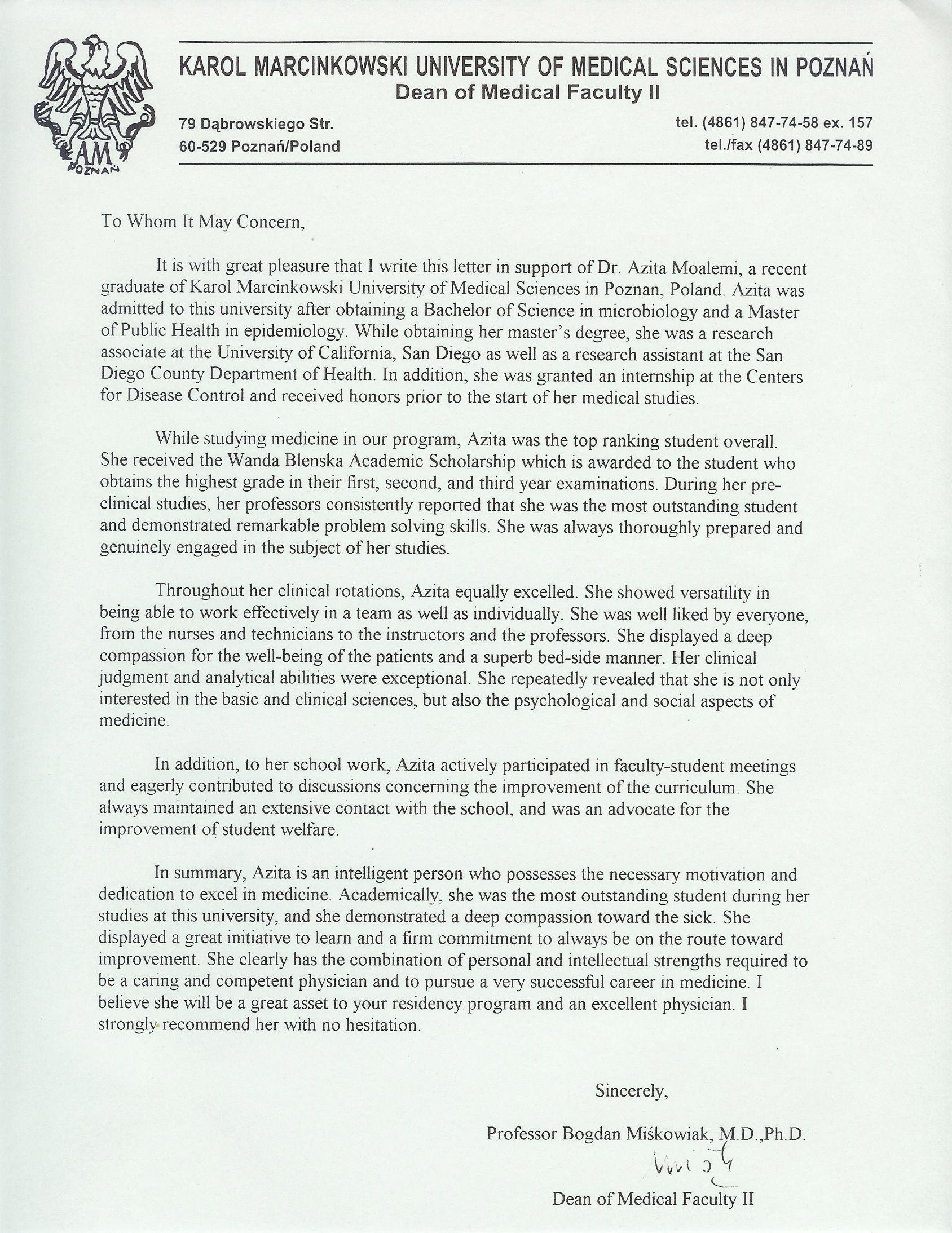 Letter Of Recommendation Samples Graduate School Letter Of