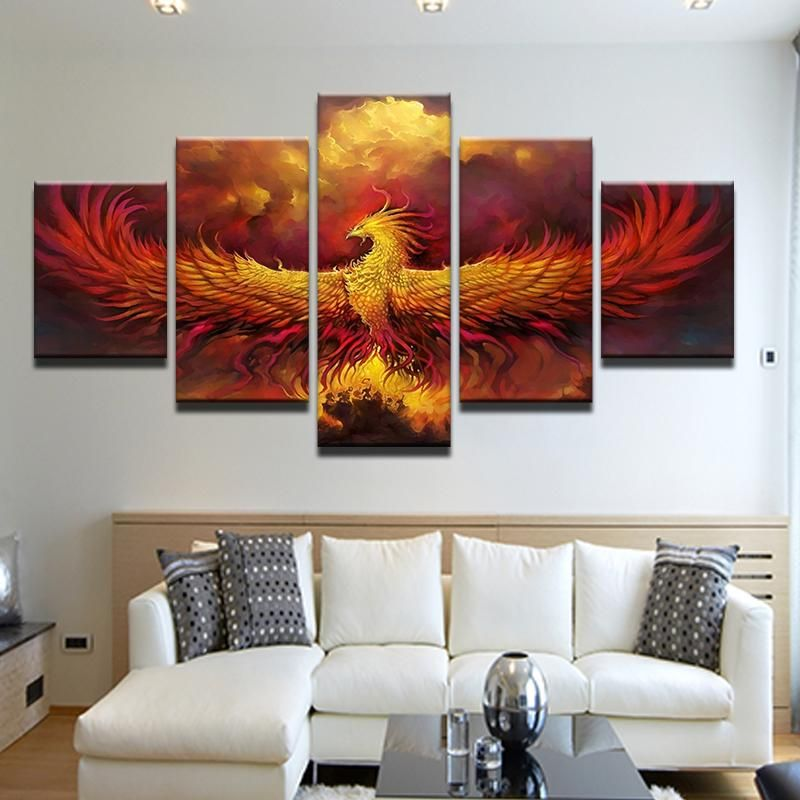 phoenix rising 5 panel canvas print wall art wall art on canvas wall art id=60445