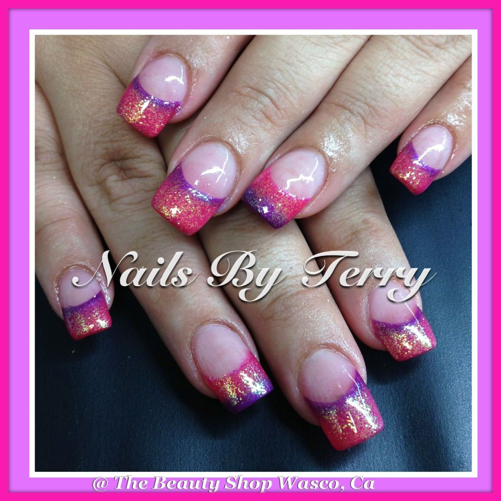 Purple and pink gel nails | Nails By Terry | Pinterest