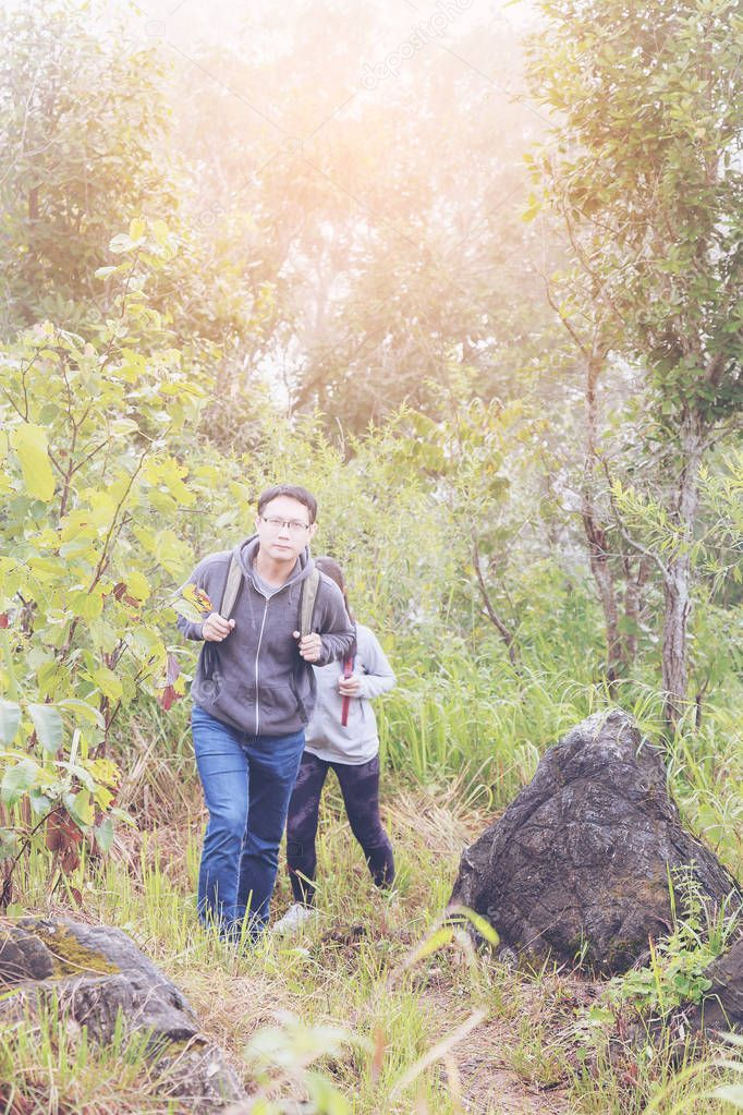 Asia Father Daughter Backpack Hiking Climbing Nature