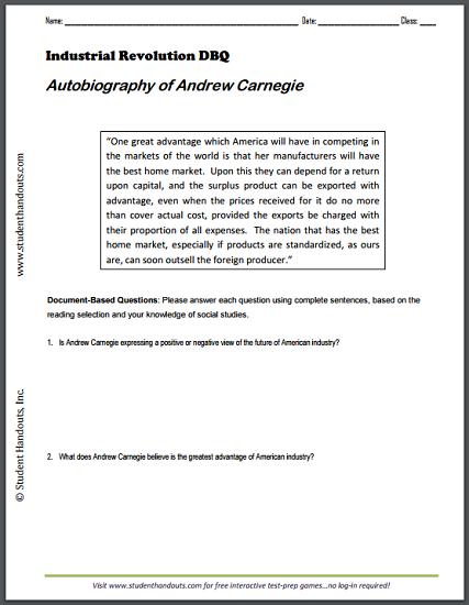 Autobiography Of Andrew Carnegie Free Printable Dbq Worksheet
