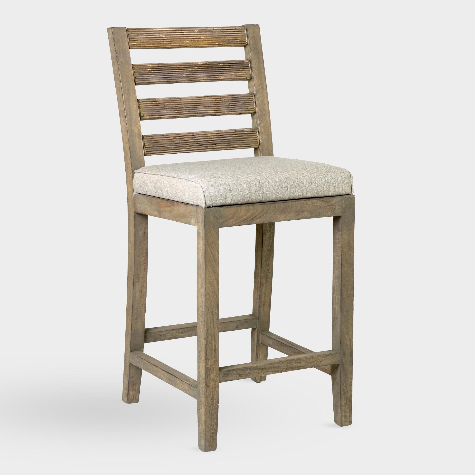 Natural Wood And Rattan Dominic Upholstered Barstool Wood Bar
