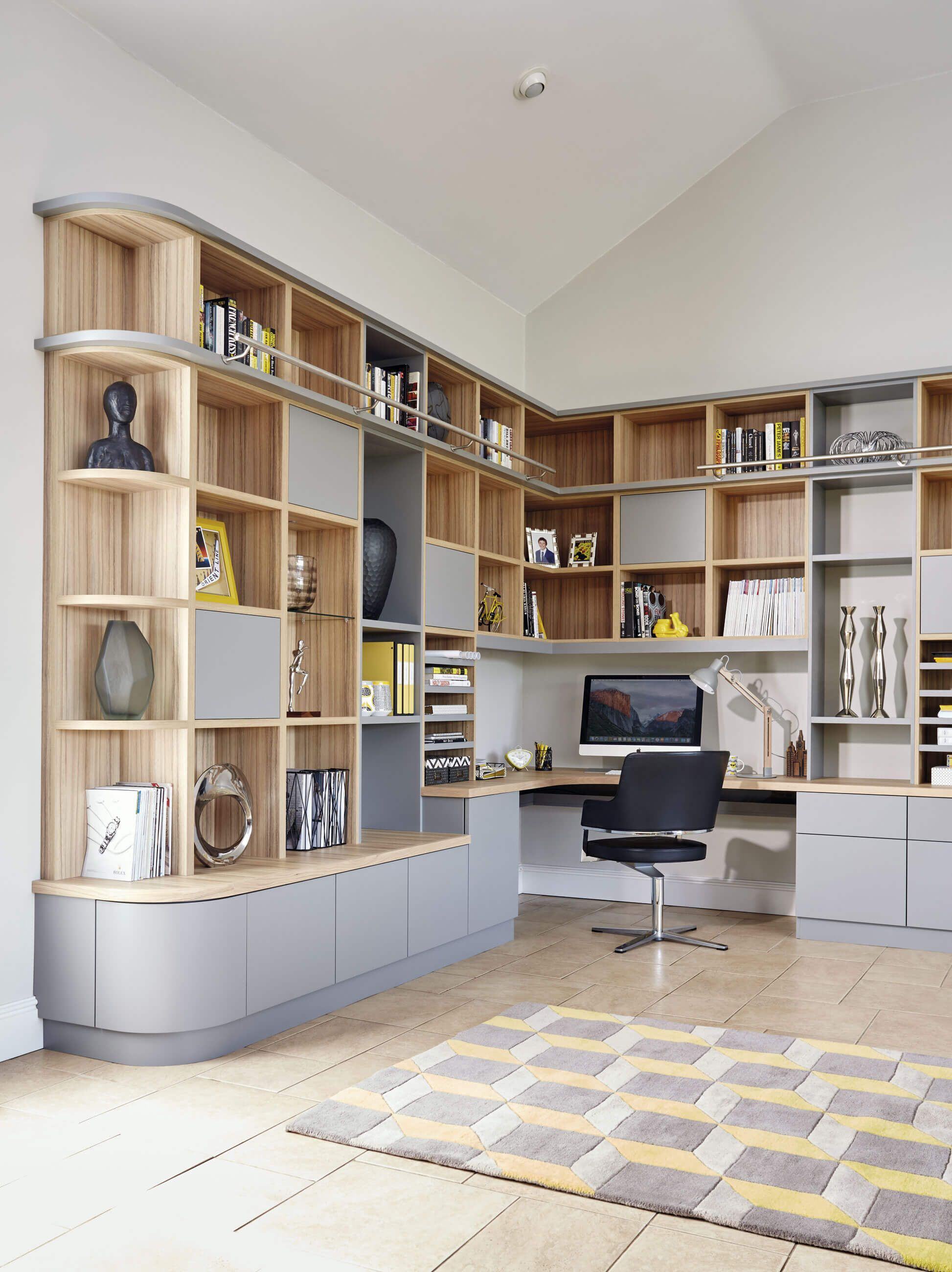 Study Table Designs For Small Rooms: Grey Modern Library & Home Office In 2020