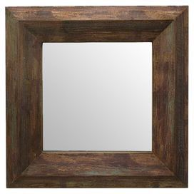 """Add a classic touch to your entryway or living room with this square wall mirror, showcasing a brown-finished wood frame.  Product: Wall mirrorConstruction Material: Wood and mirrored glassColor: Brown frameDimensions: 35.5"""" H x 35.5"""" W x 2.75&#34"""