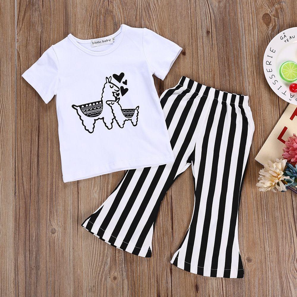 8440dbdf433a 2Pcs Stylish Baby Girl Summer Clothes Cute Cartoon Alpaca Print short  sleeve Shirt Tops striped Pants Infant Outfit Set