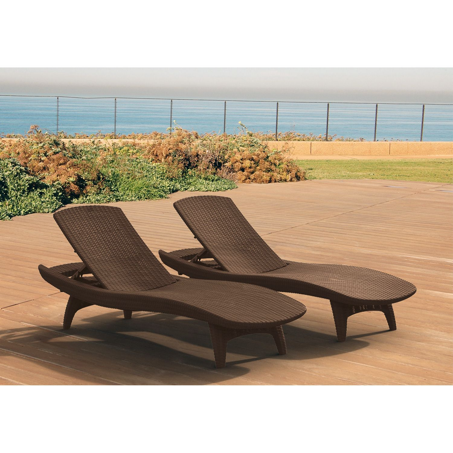 Keter Rattan Chaise Lounge 2pk Brown Sam S Club Lounge Chair Outdoor Patio Lounge Chairs Outdoor Chaise Lounge