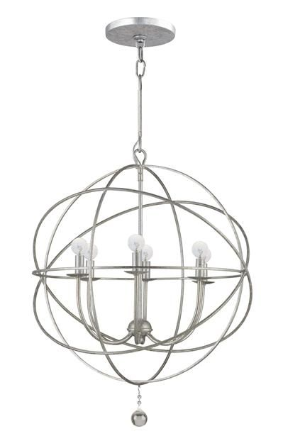 Crystorama Solaris 6 Light Silver Sphere Chandelier III  Chandelier for over kitchen table