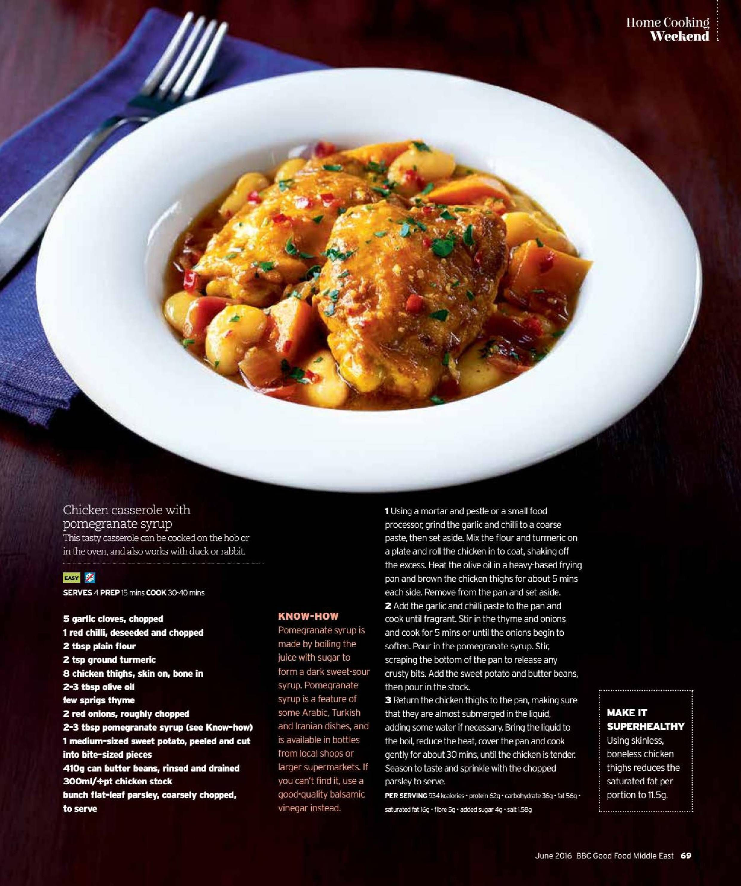 Chicken casserole with pomegranate syrup recipe bbc good food get your digital copy of bbc good food me magazine june 2016 issue on magzter and enjoy reading it on ipad iphone android devices and the web forumfinder Images