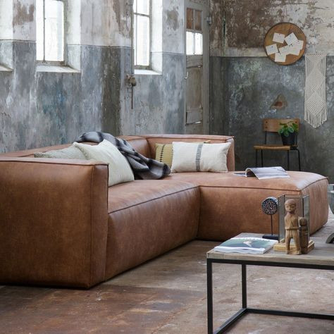 eckgarnitur bean leder cognac couch sofa ecksofa ledercouch longchair rechts decor and design. Black Bedroom Furniture Sets. Home Design Ideas