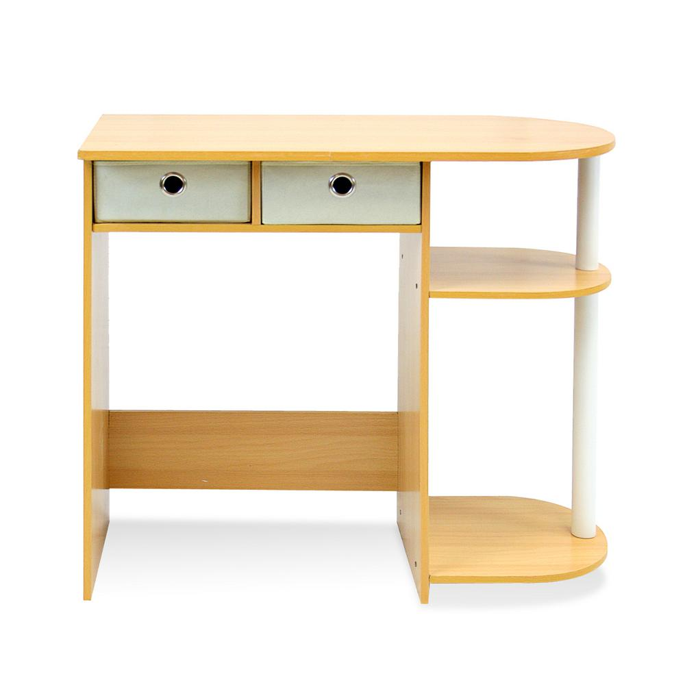 Go green beech computer desk with bin drawer beechivorywhite