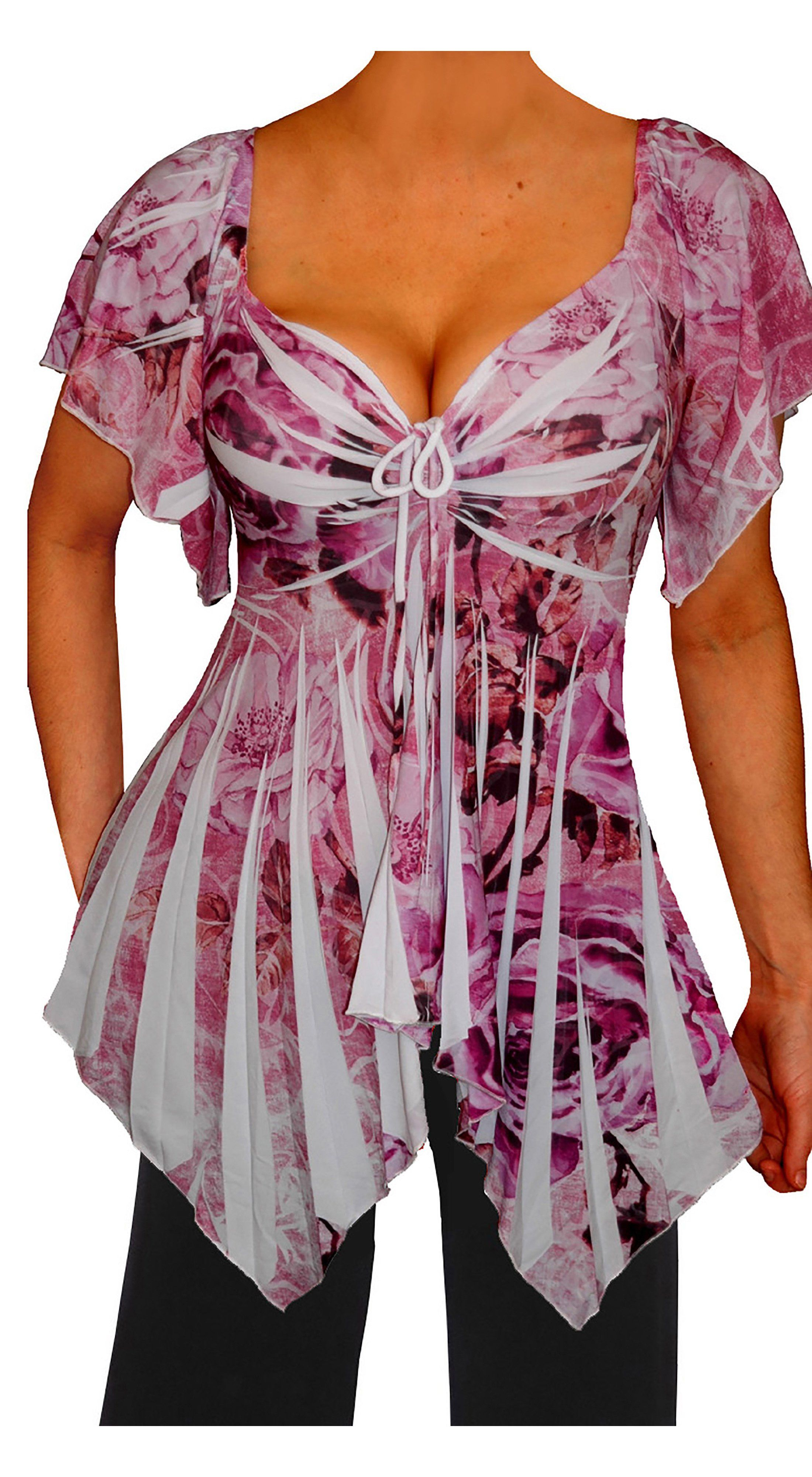 79eb35c333c8 Funfash Plus Size Pink White Empire Waist Slimming Womens Top Shirt