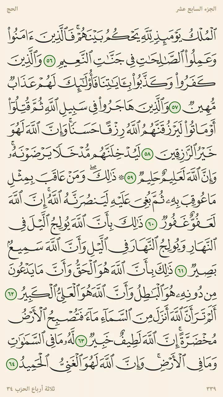 ٥٦ ٦٤ الحج المصحف المرتل صفحات عبد الباسط عبد الصمد Quran Verses Math Verses