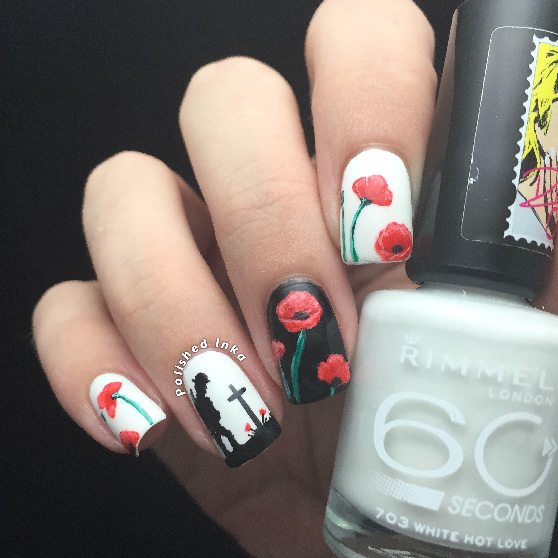 Rememberance Day Poppy Nail Art | Polished Inka | Nails | Pinterest ...