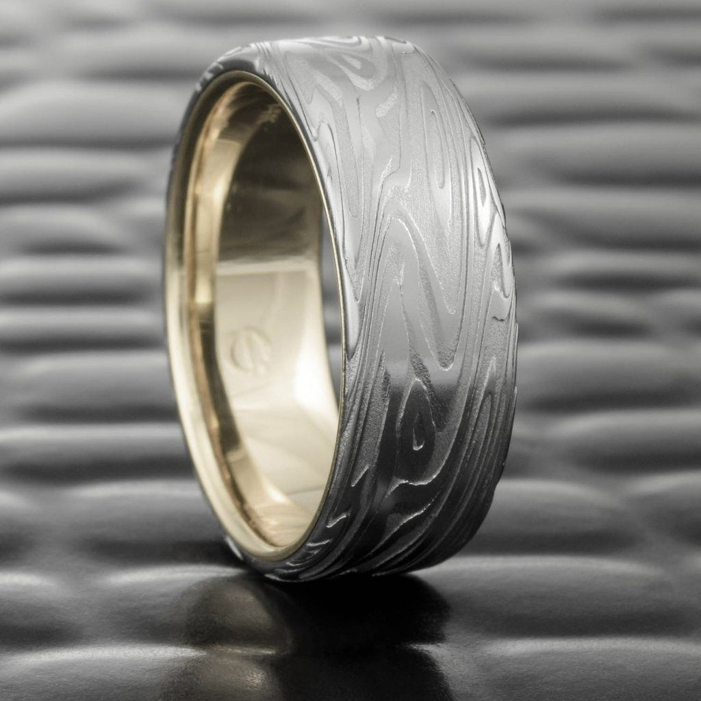 Damascus Steel Flat 7mm Wide Wedding Ring with 14K White Gold Liner  |  ORGANIC WOOD