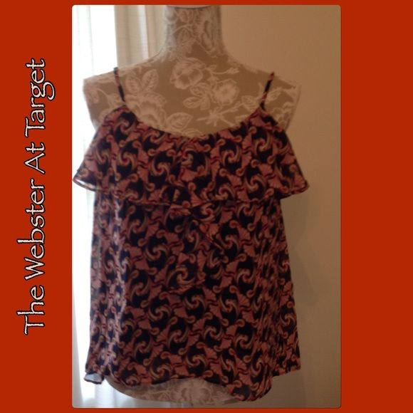 #346  THE WEBSTER MIAMI AT TARGET Like new!  Beautiful colorful top with adjustable spaghetti straps. Ruffle around neckline and front.  Cool and flowey.  Polyester. The Webster at Target Tops