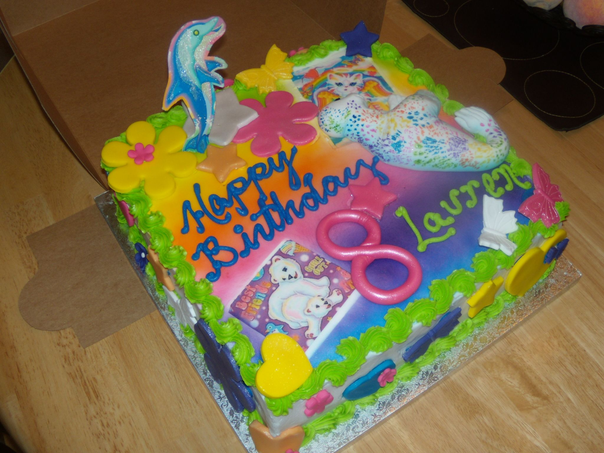 Lisa Frank Themed 2 Layer 12 Cake Very Colorful To Say The