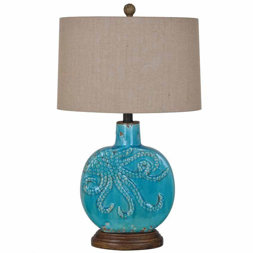 Antique Turquoise Octopus Ceramic Table Lamp Beach Theme Table